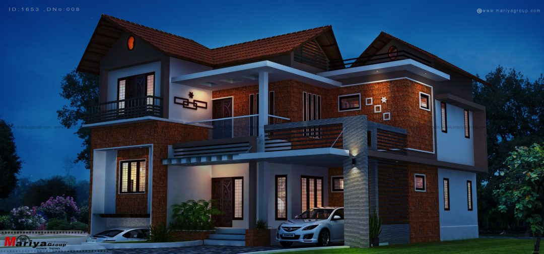 Kerala style house design day night view